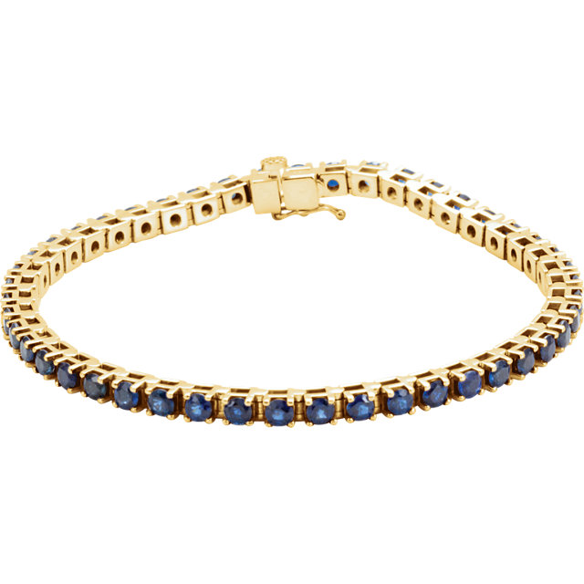 Great Gift in 14 Karat Yellow Gold Blue Sapphire Line Bracelet