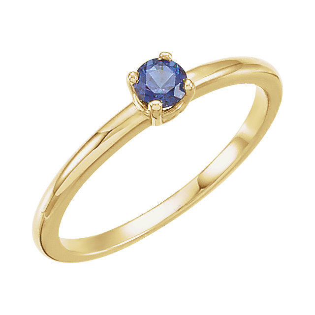 Best 14 Karat Yellow Gold Round Genuine Blue Sapphire