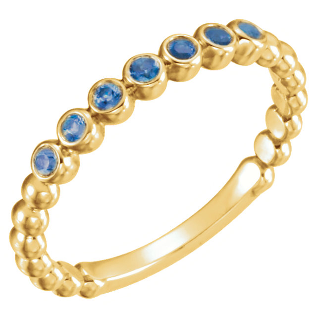 Great Deal in 14 Karat Yellow Gold Blue Sapphire Stackable Ring