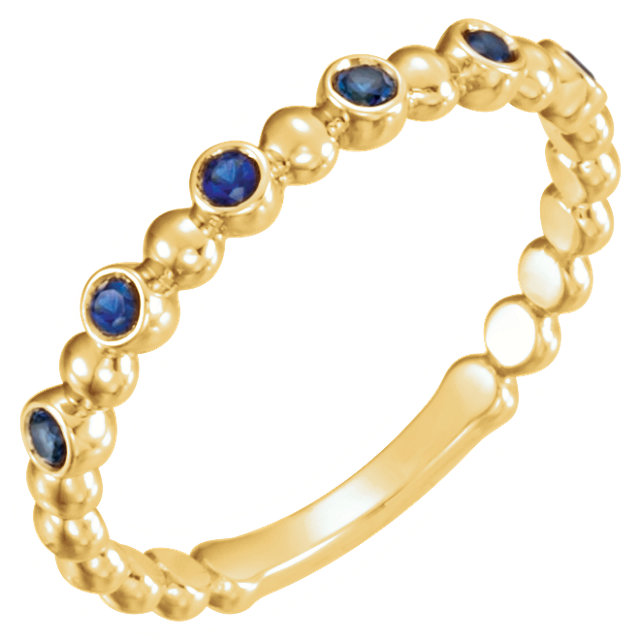 Contemporary 14 Karat Yellow Gold Blue Sapphire Stackable Ring