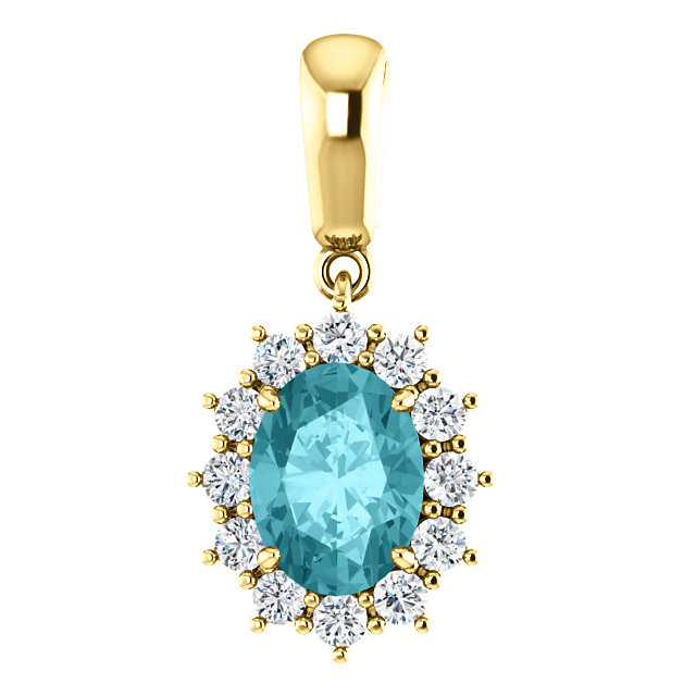 Perfect Jewelry Gift 14 Karat Yellow Gold Blue Zircon & 0.33 Carat Total Weight Diamond Pendant