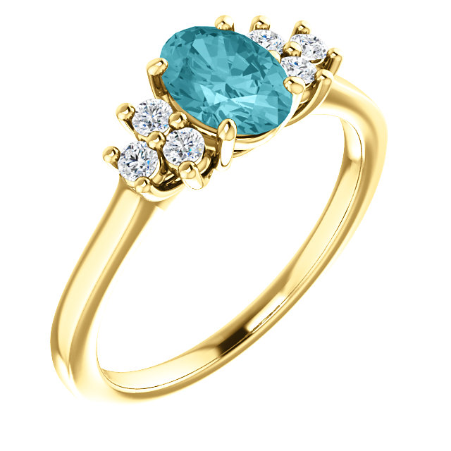 Buy 14 Karat Yellow Gold Blue Zircon  & 0.20 Carat Diamond Ring