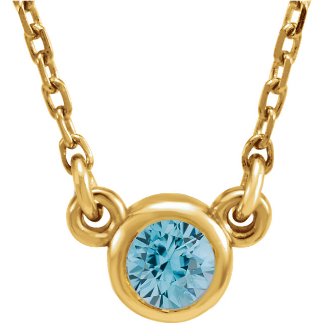 Genuine  14 Karat Yellow Gold Blue Zircon 16