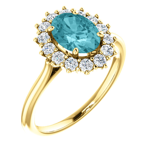Fabulous 14 Karat Yellow Gold Oval Genuine Blue Zircon & 3/8 Carat Total Weight Diamond Ring