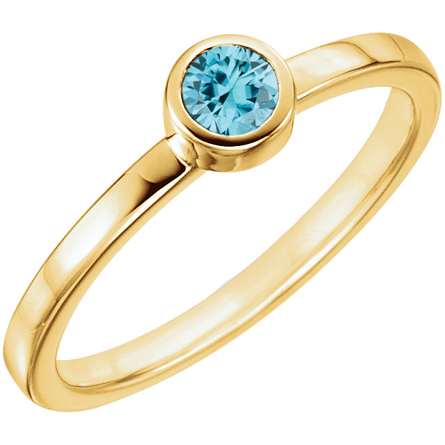Magnificent 14 Karat Yellow Gold Round Genuine Blue Zircon Ring
