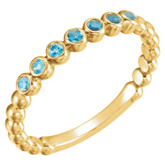 Easy Gift in 14 Karat Yellow Gold Blue Zircon Stackable Ring