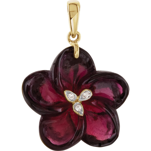 Perfect Jewelry Gift 14 Karat Yellow Gold Brazilian Garnet & Diamond Flower Pendant