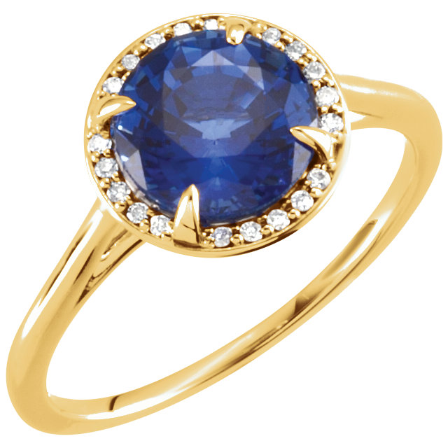 Easy Gift in 14 Karat Yellow Gold Genuine Chatham Created Blue Sapphire & .05 Carat Total Weight Diamond Ring