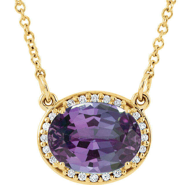 Perfect Jewelry Gift 14 Karat Yellow Gold Genuine Chatham Created Created Alexandrite & .05 Carat Total Weight Diamond 16.5