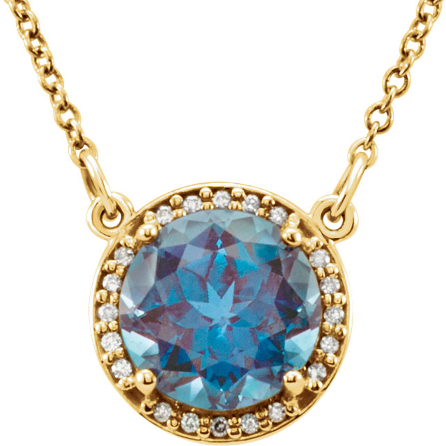Chic 14 Karat Yellow Gold 8mm Round Genuine Chatham Created Created Alexandrite & .05 Carat Total Weight Diamond 16
