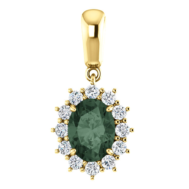 Very Nice 14 Karat Yellow Gold Genuine Chatham Created Created Alexandrite & 0.33 Carat Total Weight Diamond Pendant