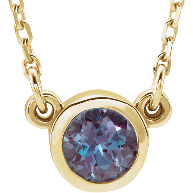 Beautiful 14 Karat Yellow Gold Genuine Chatham Created Created Alexandrite 16