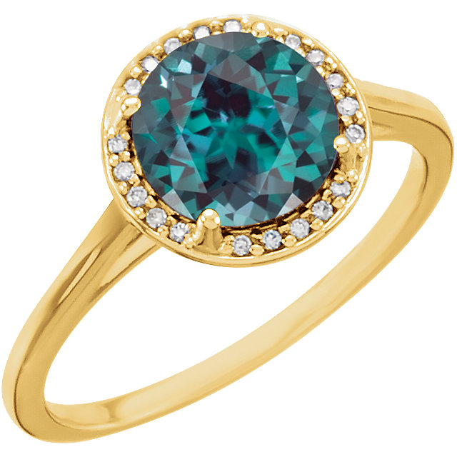 14 Karat Yellow Gold Genuine Chatham Alexandrite & .05Carat Diamond Ring