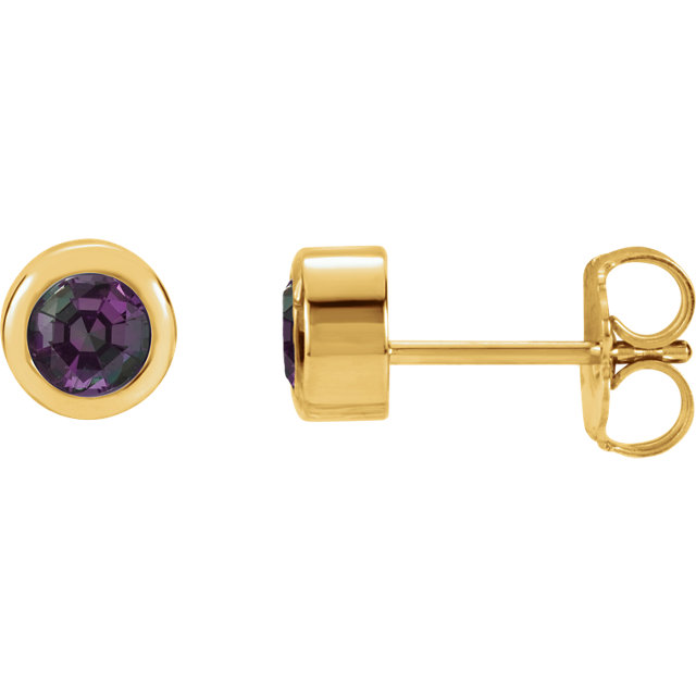 Quality 14 KT Yellow Gold Genuine Chatham Created Created Alexandrite Earrings