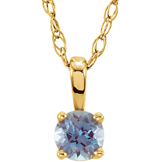 Quality 14 KT Yellow Gold Genuine Chatham Created Lab-Created Alexandrite