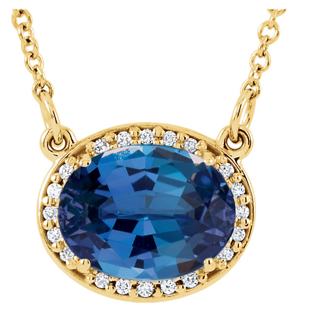 Appealing Jewelry in 14 Karat Yellow Gold Genuine Chatham Created Created Blue Sapphire & .05 Carat Total Weight Diamond 16.5