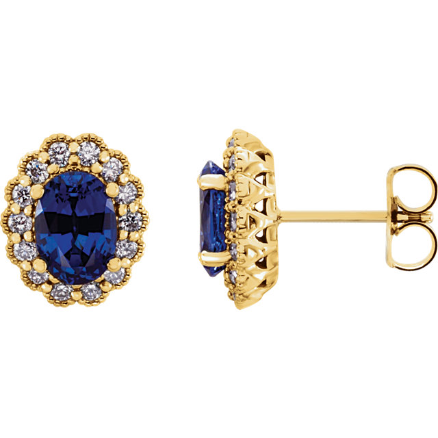 Great Gift in 14 Karat Yellow Gold Genuine Chatham Created Created Blue Sapphire & 0.40 Carat Total Weight Diamond Earrings