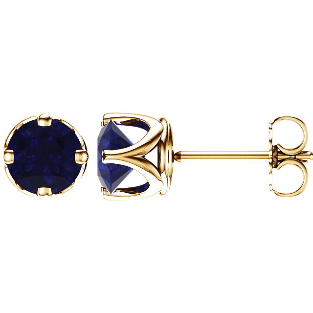 Great Deal in 14 Karat Yellow Gold Genuine Chatham Created Created Blue Sapphire Earrings