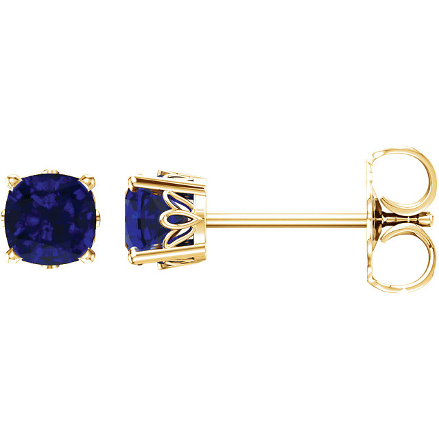 Buy Real 14 KT Yellow Gold Genuine Chatham Created Created Blue Sapphire Earrings