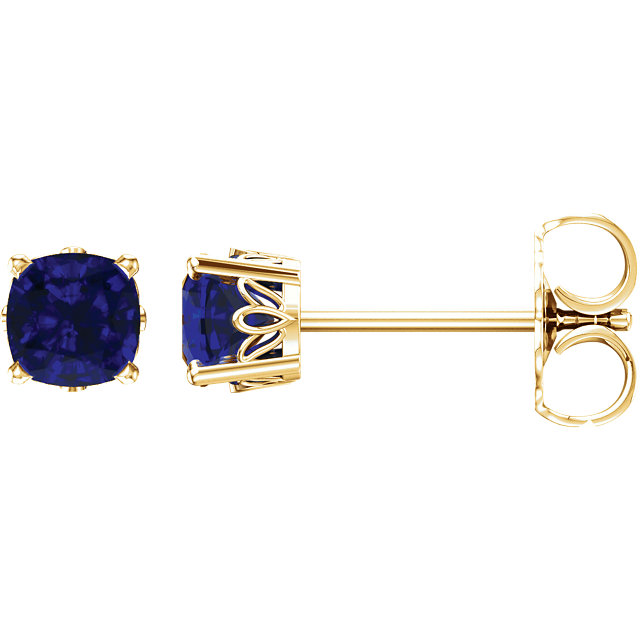 Fine Quality 14 Karat Yellow Gold Genuine Chatham Created Created Blue Sapphire Earrings