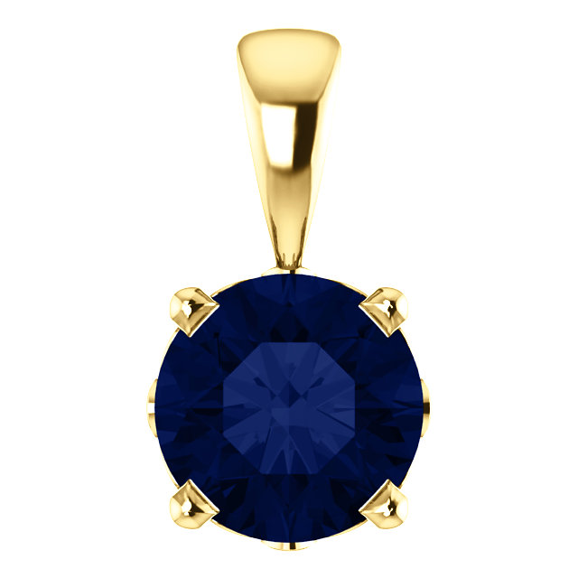 Excellent 14 Karat Yellow Gold Chatham Created Round Blue Sapphire Scroll Setting Pendant