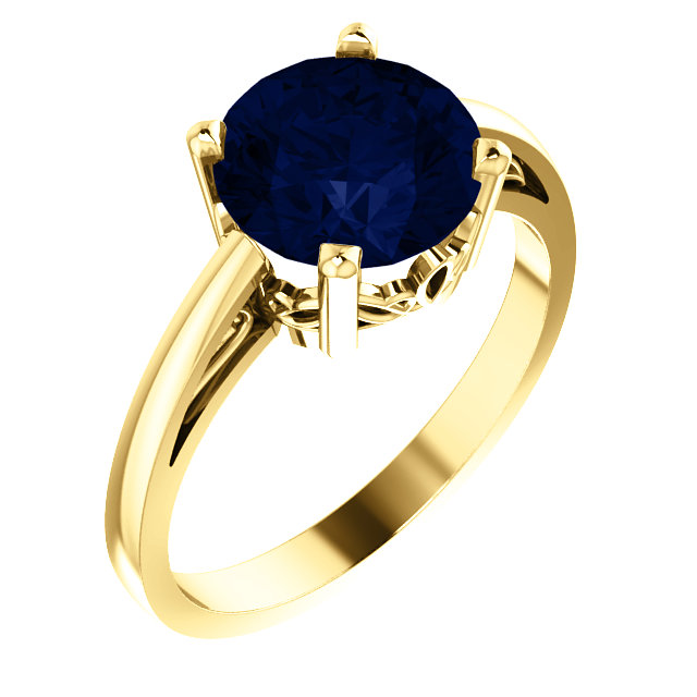 Eye Catchy 14 Karat Yellow Gold Genuine Chatham Created Created Blue Sapphire Ring