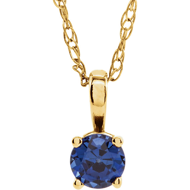 Must See 14 Karat Yellow Gold Genuine Chatham Created Lab-Created Blue Sapphire