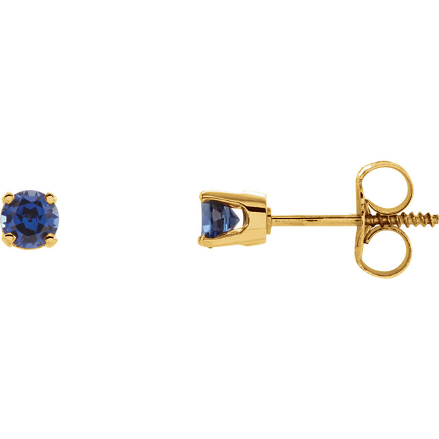 Stunning 14 Karat Yellow Gold Genuine Chatham Created Lab-Created Blue Sapphire Earrings