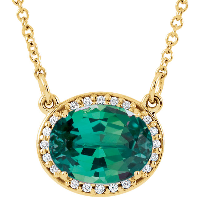 Must See 14 KT Yellow Gold Genuine Chatham Created Created Emerald & .05 Carat TW Diamond 16.5
