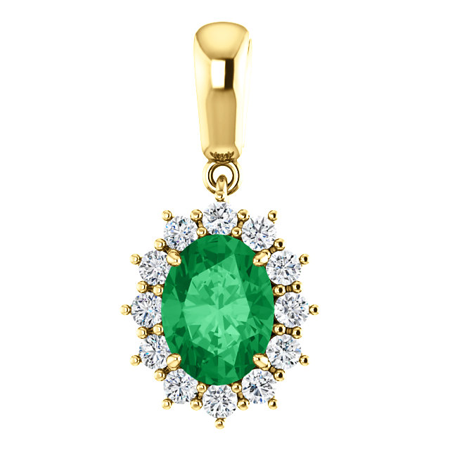 Wonderful 14 Karat Yellow Gold Genuine Chatham Created Created Emerald & 0.33 Carat Total Weight Diamond Pendant