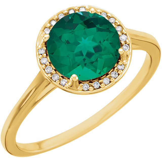 Chic 14 Karat Yellow Gold Genuine Chatham Created Created Emerald & .05Carat Total Weight Diamond Ring