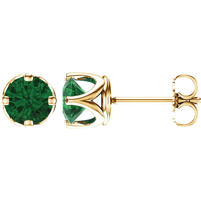 Appealing Jewelry in 14 Karat Yellow Gold Genuine Chatham Created Created Emerald Earrings