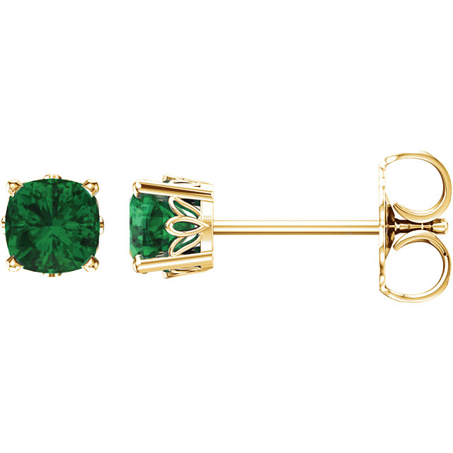 Great Buy in 14 KT Yellow Gold Genuine Chatham Created Created Emerald Earrings
