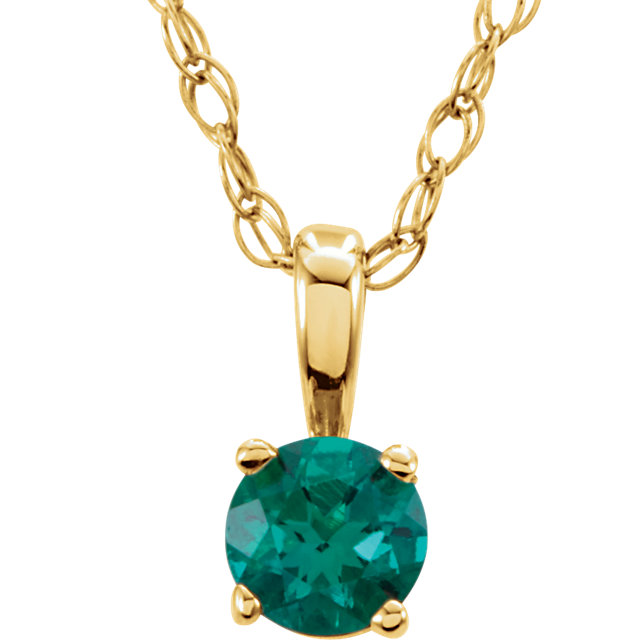 Chic 14 Karat Yellow Gold Genuine Chatham Created Lab-Created Emerald
