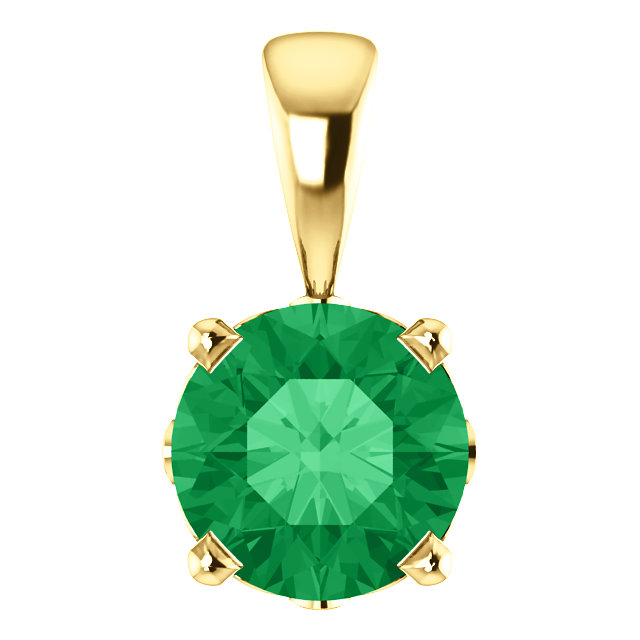 Alluring 14 KT Yellow Gold Chatham Created Emerald Scroll Setting Pendant