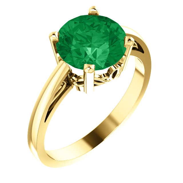 Fine Quality 14 Karat Yellow Gold Genuine Chatham Created Created Emerald Ring