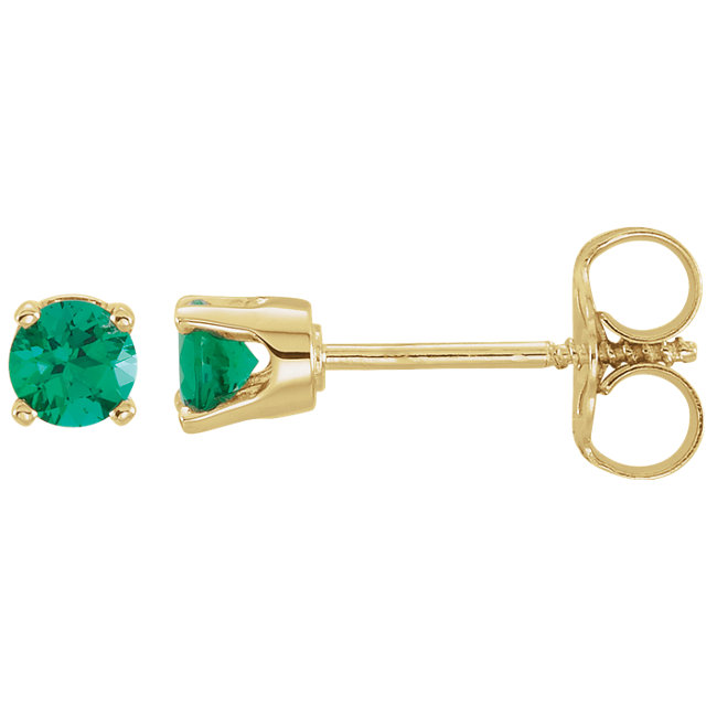 Fine Quality 14 Karat Yellow Gold Genuine Chatham Created Lab-Created Emerald Earrings