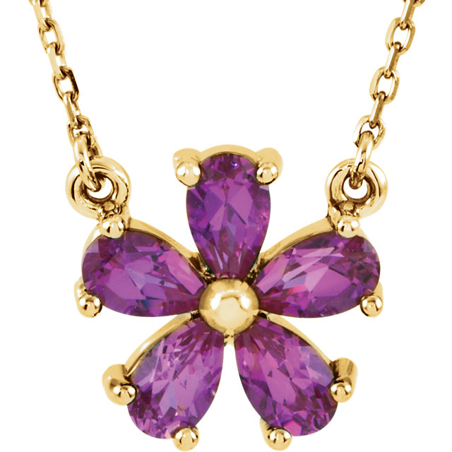 Great Buy in 14 Karat Yellow Gold Genuine Chatham Created Created Pink Sapphire 16