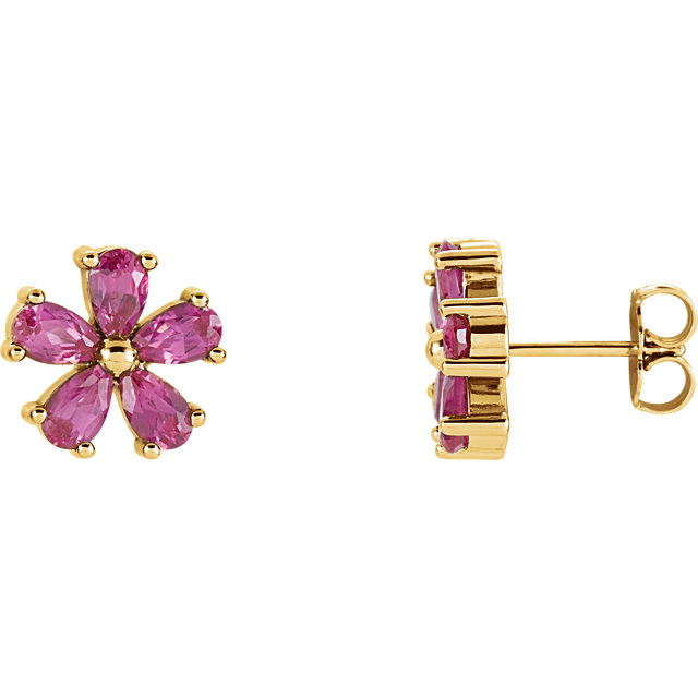 Perfect Jewelry Gift 14 Karat Yellow Gold Genuine Chatham Created Created Pink Sapphire Earrings