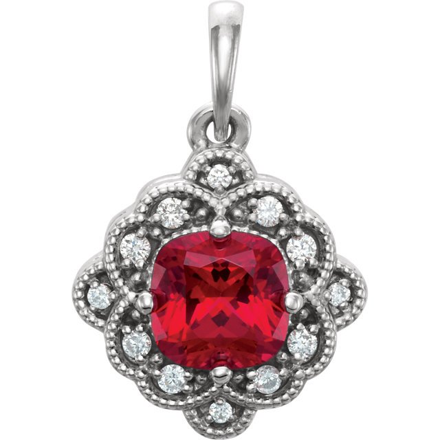 14KT Yellow Gold Chatham Created Ruby & .03 Carat Total Weight Diamond Pendant