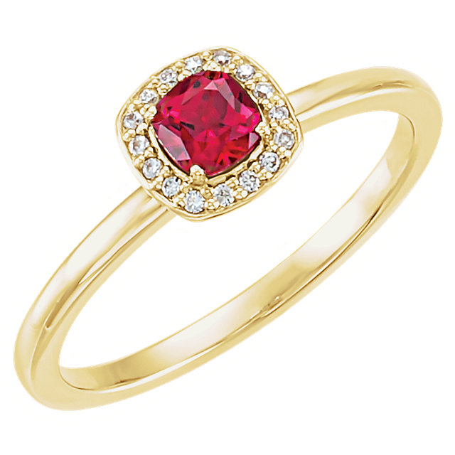 Surprise Her with  14 Karat Yellow Gold Genuine Chatham Created Created Ruby & .04 Carat Total Weight Diamond Halo-Style Ring