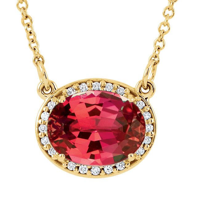 Fine Quality 14 Karat Yellow Gold Genuine Chatham Created Created Ruby & .05 Carat Total Weight Diamond 16.5
