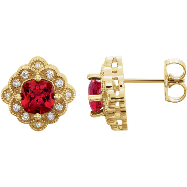 Captivating 14 Karat Yellow Gold Chatham Created Ruby & 0.10 Carat Total Weight Diamond Earrings