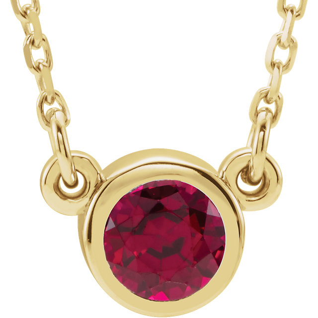 Great Gift in 14 Karat Yellow Gold Genuine Chatham Created Created Ruby 16