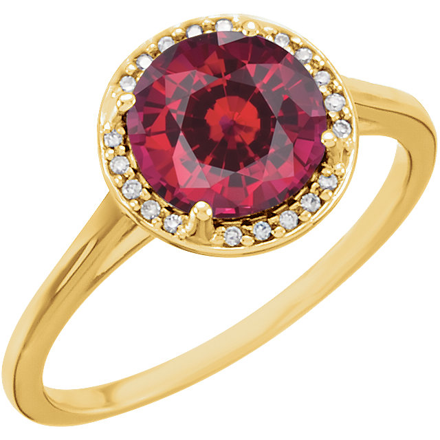 Perfect Gift Idea in 14 Karat Yellow Gold Genuine Chatham Created Created Ruby & .05Carat Total Weight Diamond Ring