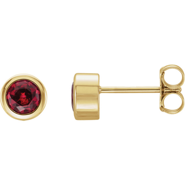 Must See 14 Karat Yellow Gold Genuine Chatham Created Created Ruby Earrings