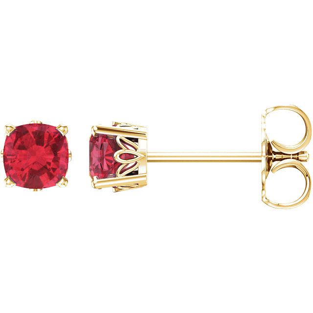 Low Price on 14 KT Yellow Gold Genuine Chatham Created Created Ruby Earrings