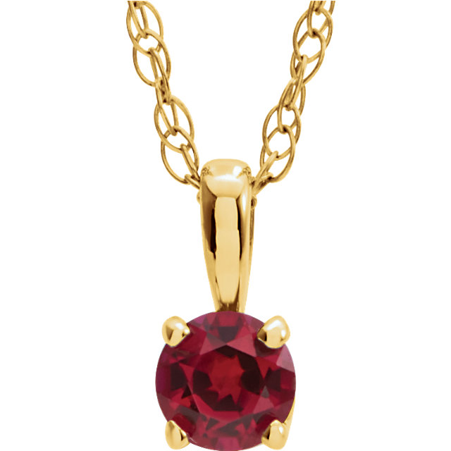 Perfect Gift Idea in 14 Karat Yellow Gold Genuine Chatham Created Lab-Created Ruby