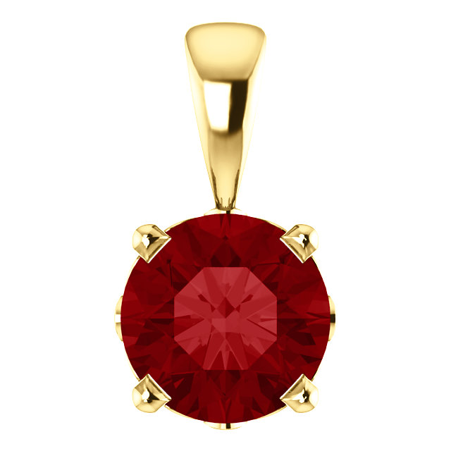 Enchanting 14 Karat Yellow Gold Chatham Created Ruby Scroll Setting Pendant
