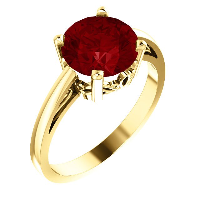 Great Buy in 14 Karat Yellow Gold Genuine Chatham Created Created Ruby Ring